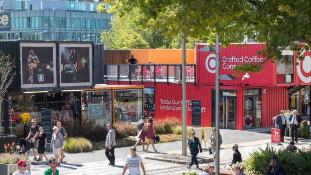 Cashel Street Mall in Christchurch, where shops have been built from shipping containers in the post-quake development. Photo: Alamy