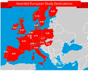 Mapping student satisfaction across Europe. Image: StudyPortals.