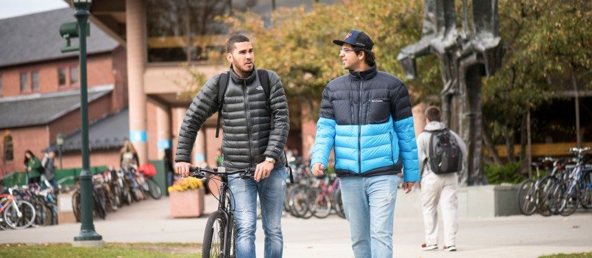 International students on campus at the University of Vermont.