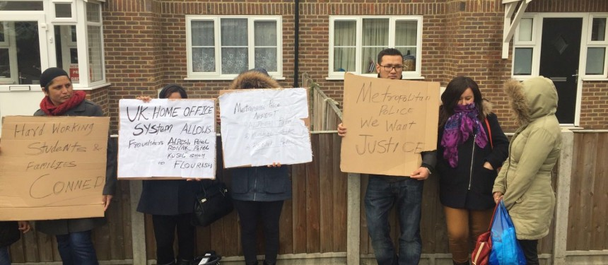 Victims of the visa scam holding a silent protest outside Alpesh Patel's residence in West London