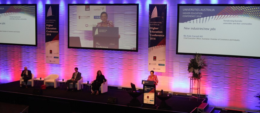 A panel discusses how to prepare for 'New industries/new jobs' at the Universities Australia conference. Photo: The PIE News.