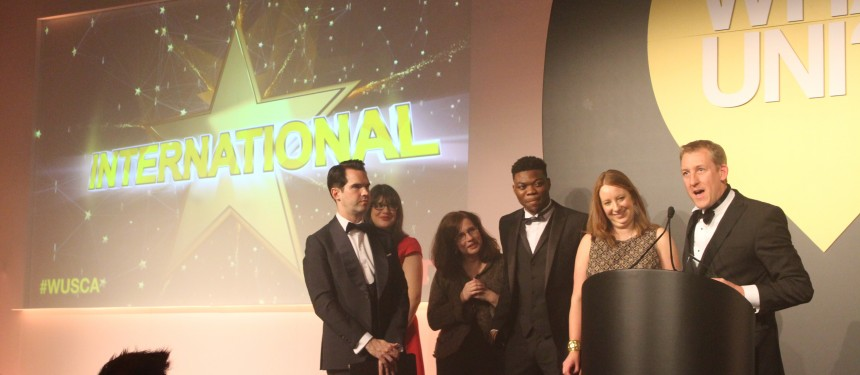 Nottingham Trent University representatives collect the International award. Photo: The PIE News
