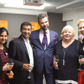 Alex Proudfoot of Study UK  and Sue Hindley of Acquire Learning (centre) at the drinks