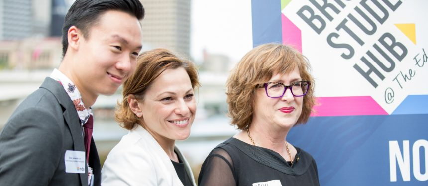 Dion Lee, student leader, Jackie Trad, deputy premier of Queensland and Vicki McDonald, state librarian. The hub will be located in The Edge, a digital culture centre in the State Library of Queensland.