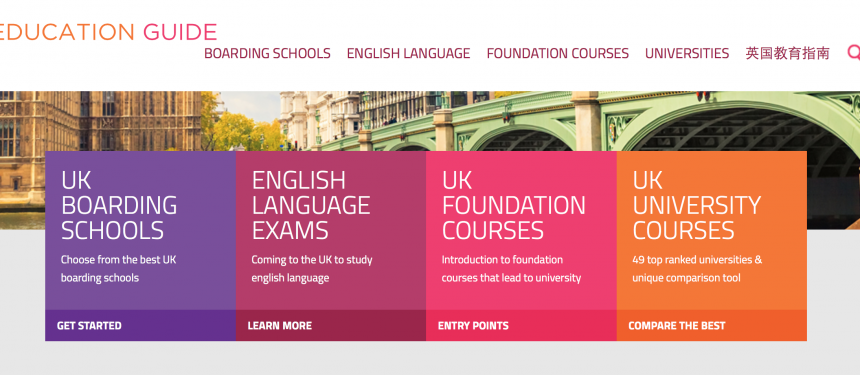 The site allows international students to compare institutions based on independently sourced metrics including tuition prices and subject.