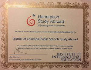 DC Public Schools won the Generation Study Abroad Award for its Global Ed programme