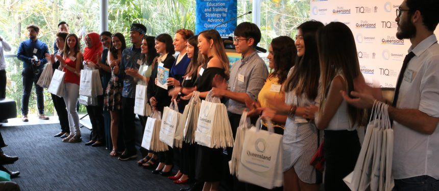 Deputy Premier Jackie Trad at the strategy launch with Queensland's Best Semester Abroad winners. Photo:  The PIE News