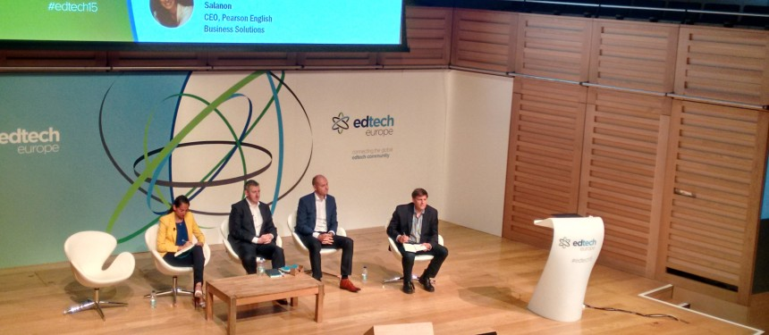 L-R: Karine Allouche Salanon, CEO of Pearson English Business Solutions, Rob Grimshaw, CEO of TES Global, John Martin, CEO of Sanoma Learning, Jonathan Harber, co-founder of EDGE EdTech. Photo: The PIE News.