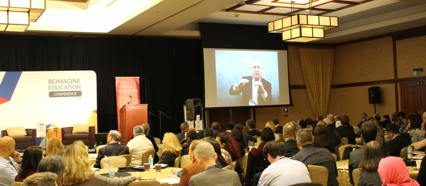 Jeremy Rifkin addresses delegates at the Reimagine Education conference. Photo: The PIE News