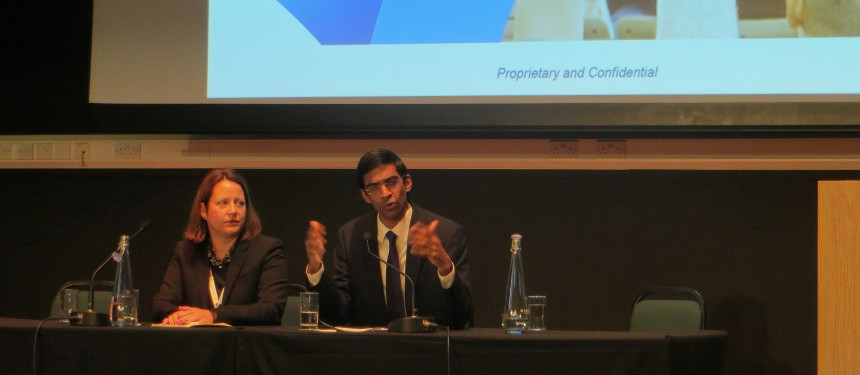 K. Holly Shiflett of Wiley Education Services and Rajay Naik of Keypath Education speak at the OBHE conference in London. Photo: The PIE News.