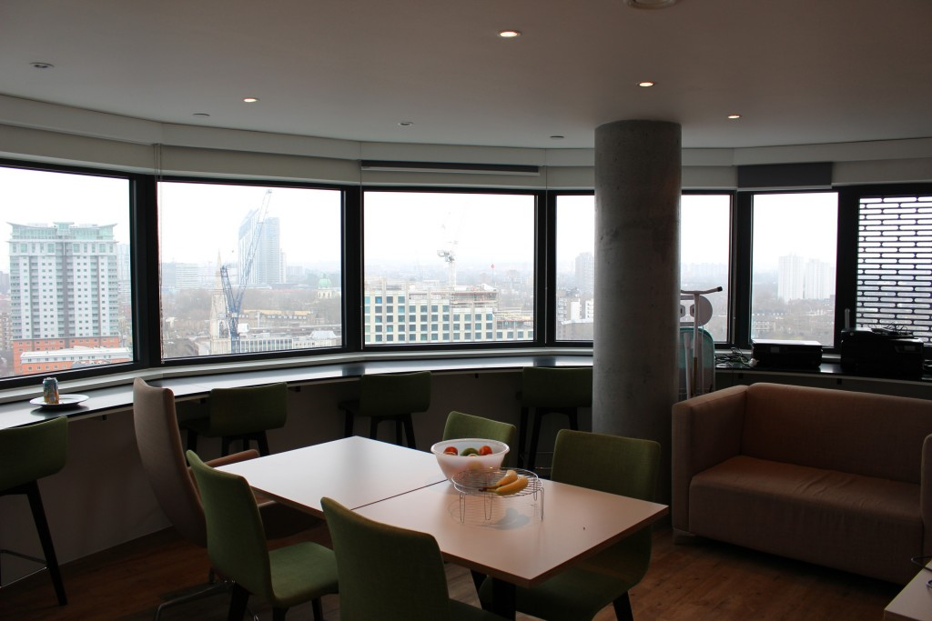 The common areas in the students' accommodation looks out over the city centre.