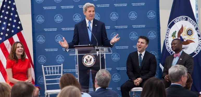 "Secretary of State, John Kerry, said: ""We are really proud and grateful to have Airbnb as our partner in this effort."" Photo: Exchange Programs - US Department of State Facebook page."
