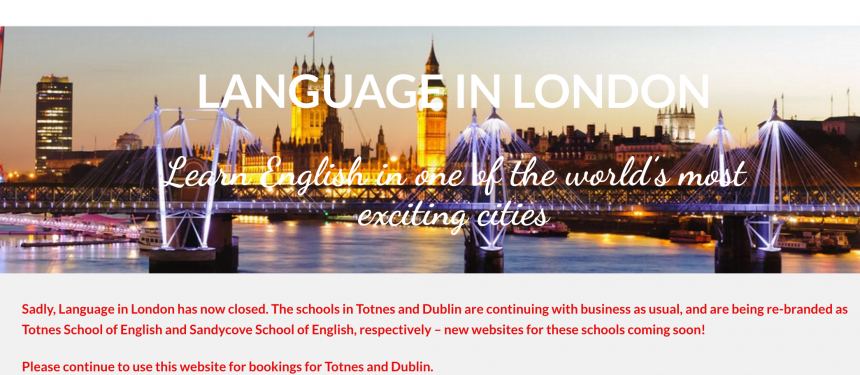 The school's website alerts visitors that the two other schools in the group will be rebranded