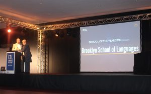 Brooklyn School of English received the ESL Language Travel Awards for School of the Year (English) at the ESL Workshop in Montreux, Switzerland last week. Photo: The PIE News.