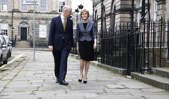 Education Secretary John Swinney, who announced the EU students funding guarantee, with Nicola Sturgeon.