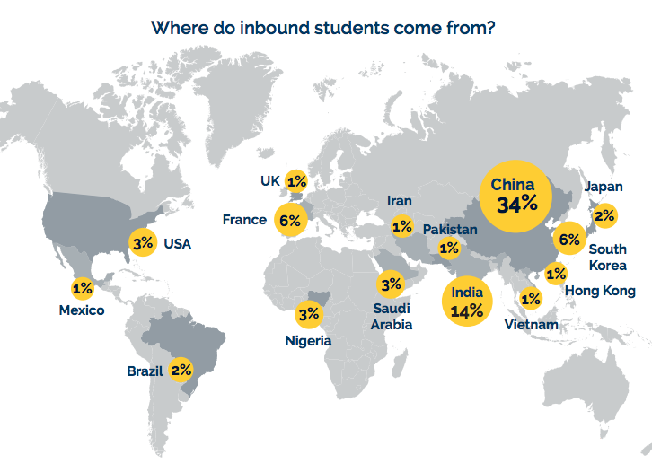 Map Of Canada For Students.A World Of Learning Int L Students In Canada Up 8 But Growth Slowing