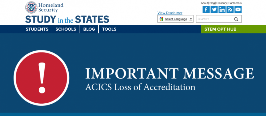 ACICS loses accreditation powers - Study in the States website notice