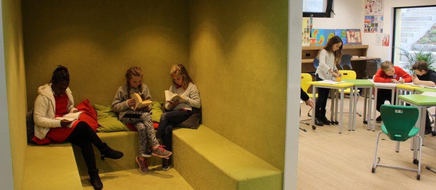 Dutch educational architect Dirk Jan Postel, who designed GES Secondary's interior, has created a space on campus at the existing Geneva English School for the first cohort of year 7 students.