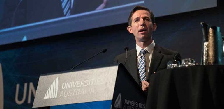Education minister Simon Birmingham at Universities Australia