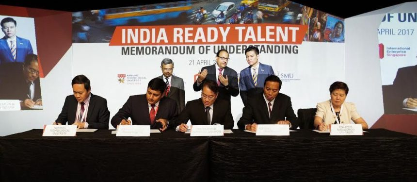 IE Singapore, Confederation of Indian Industry, Nanyang Technological University, National University of Singapore, Singapore Management University sign an MOU to expand the Young Talent Programme at the ASEAN-India Business Forum