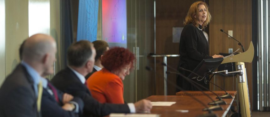 Margaret Gardner, vice-chancellor of Monash University, speaks on My eQuals at Groningen Declaration Network