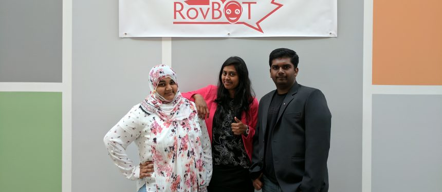Ruhi Madiwale, Dhivya Jayaraman and JeyaBalaji Samuthiravelu, computer science graduate students behind RovBot.