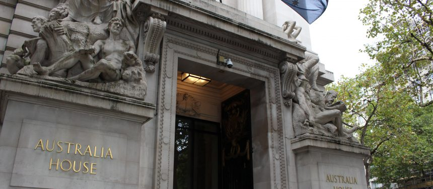 Exterior of Australia House, the Australian High Commission in London.