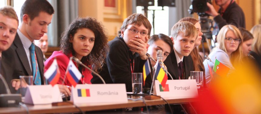 Students from across the EU take part in a mock EU debate in London