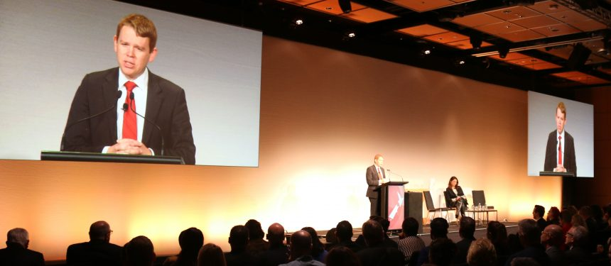 Labour education spokesperson Chris Hipkins outlines his party's policies at NZIEC