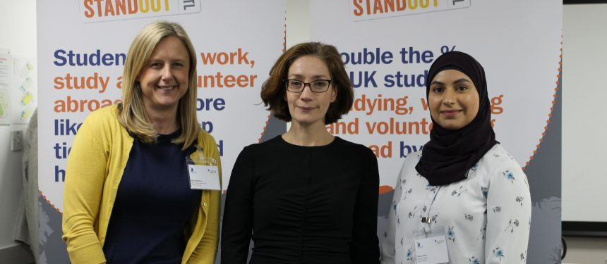 Left to right: Rose Matthews, head of global opportunities, Cardiff University, UUKi director Vivienne Stern, Fatima Afzal, Aston Univeristy alumni.