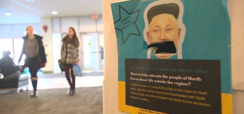 Flashdrives for Freedom: The university has already collected over 250 USB keys for the campaign. Photo: CBC