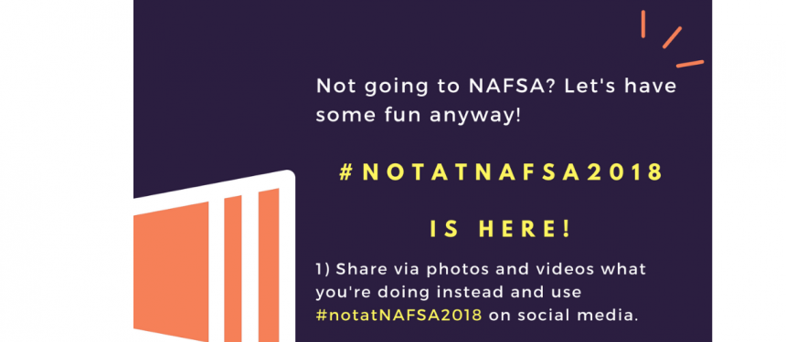 Members of the intled community who can't make NAFSA are being invited to join in with the hashtag on Twitter.Image: Melibee