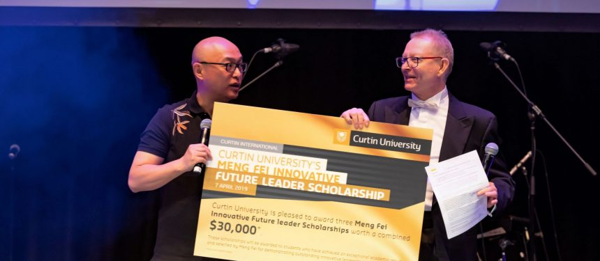 Meng Fei and Curtin University Faculty of Humanities pro vice-chancellor Alan Dench. Photo: Curtin